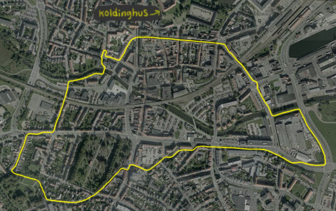 Her er den rute jeg løb i aftes.