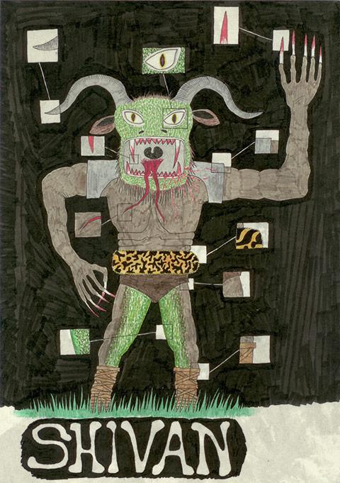 Jeg var også helt vild med at tegne monstre. Dengang havde jeg dog ikke helt styr på hindugudernes navne. Jeg har nok tænkt på dødsguden Shiva, men af en eller anden grund er det blevet til Shivan.